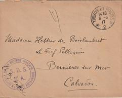 MISSION MILITAIRE FRANCAISE AUPRES DE L'ARMEE BRITANIQUE Trésor Et Poste 2. Pour Bernieres Calvados - WW I