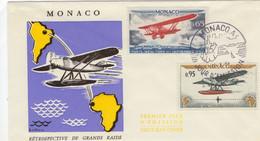 Rétrospective De Grand Raids Aériens De 1919 -  Biplan Bréguet 19 - Hydravion Laté 28 -  Monaco  Premier Jour 2v  -  FDC - Avions
