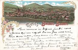 Allemagne Gruss Aus Baden Baden Totalansicht Friesenberg Gesehen Cpa Illustration + Timbre Cachet 1897 - Baden-Baden