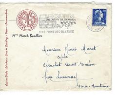 ENVELOPPE : Commerciale Mme MARET-BOULLIER , Couvre-pieds,édredons,tissus Etc..,ROUEN. 27 Mars 1958. - Unclassified