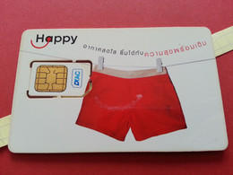 THAILAND SIM GSM Happy DTAC Short 3 - With Numbers USIM RARE Used (BH1219b5 - Thaïlande