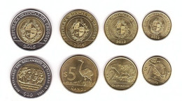Uruguay - Set 4 Coins 1 2 5 10 Pesos 2012 - 2015 AUNC / UNC Lemberg-Zp - Uruguay