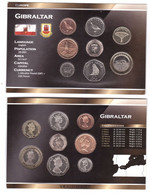 Gibraltar - Set 8 Coins 1 2 5 10 20 50 P 1 2 Pounds 1995-2016 UNC In Cardboard Box Lemberg-Zp - Gibraltar