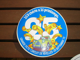 RARE ANCIEN AUTOCOLLANT !! NIVELLES - GRANDE FETE 2 CV CHEVAUX CITROEN AU CIRCUIT - 29 SEPTEMBRE 1973 - Adesivi