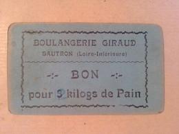 44   SAUTRON    BOULANGERIE   GIRAUD     BON   D ALIMENTATION   PAIN   3   KILOS   RECTIFIE  2 KILOS DE PAIN - Non Classés