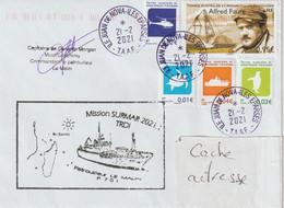 13768  Patrouilleur LE MALIN à JUAN DE NOVA - îles ÉPARSES 6 Mission SURMAR 2021.1 - Covers & Documents