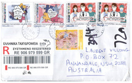 (PP 15) Greece Cover Posted Registered To Australia (with COVID-19 4 Stamps Of Greece) - Maladies