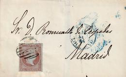 1855-CARTA-Edifil 40. ISABEL II. HARO A LOGROÑO. Matasello PARRILLA, Al Frente Fechador HARO / LOGROÑO, Tipo I, Azul - Lettres & Documents
