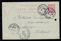 Allegorie 10 C. Ab Paris 21.1.04 Nach Stuttgart, Karte Aktenloch - Sin Clasificación