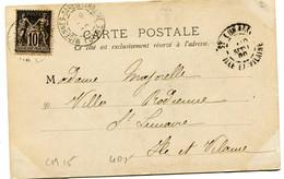 YONNE Dateur A2 MIGENNES-GARE  DE LA ROCHE Sur CP De 1900 Pothion N°762 - Railway Post