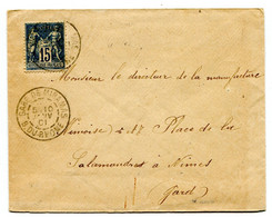 BOUCHES DU RHONE Dateur A 2 GARE DE MIRAMAS Sur Env. De 1901 Pothion N°765 - Railway Post