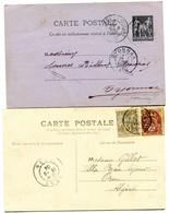 SAVOIE Dateur A 2 GARE DE MODANE Sur Entier De 1888 Et CP De 1904 Pothion N°768 - Railway Post
