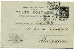 DOUBS Dateur A 2 GARE DE MONTBELIARD Sur Entier Sage De 1899 Pothion N°790 - Railway Post
