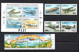 T1-12  Fidji N° 839 à 842 + 949 à 952 + BF 27 **  A Saisir !!!  Avions - Fiji (1970-...)