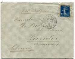 DOUBS Dateur A 4 GARE DE MONTBELIARD Sur Env. De 1910 Pour ZURICH  Pothion N°790 - Railway Post