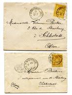 SEINE ET MARNE Dateur T 17 GARE DE MONTEREAU Sur 2 Env. De 1880 Avec Sage N°92 Pour SELESTAT   Pothion N°799 - Railway Post