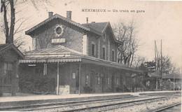 MEXIMIEUX - Un Train En Gare - Voie Ferrée - Cachet Hôpital Militaire De Meximieux - Altri Comuni