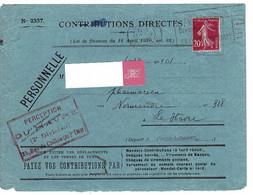 ENVELOPPE : Contributions Directes , Perception Le Havre , 25  Place Du Chillou . 24 5 1930. - Unclassified
