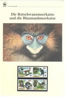 Angola 2011 - WWF Die Rotschwanzmeerkatze Und Die Blaumaulmeerkatze - Komplettes Kapitel Postfrisch MK FDC - Unclassified