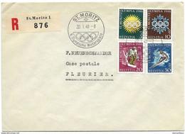 23 - 19 - Enveloppe Recommandée Avec Série JO St Moritz 1948 - Avec Oblit Spéciale - Inverno1948: St-Moritz