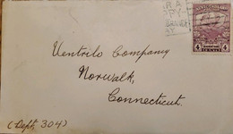 A) 1919, NEWFOUNDLAND, REINDEER, LETTER SHIPPED TO CONNECTICUT-UNITED STATES WITH SEAL OF CANCELLATION - Cartas