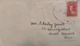A) 1928, NEWFOUNDLAND, PRINCE OF WALES LETTER SENT TO SOUTH NORWALK CONNECTICUT-UNITED STATES 4cts, PURPLE RED WITH SEAL - Cartas