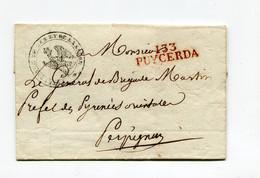 !!! DEPT CONQUIS, 133 SEGRE, MARQUE POSTALE DE PUYCERDA SUR LETTRE SANS TEXTE POUR PERPIGNAN. CERTIF ROUMET - 1792-1815: Veroverde Departementen