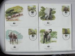 Nat039fb WWF FAUNA OLIFANTEN ELEPHANTS ELEFANT MAMMALS SRI LANKA 1986 FDC'S - FDC