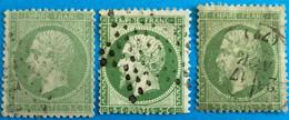 France 1863 : Lot Empire Dentelé N° 20 Oblitéré Différentes Teintes - 1863-1870 Napoleon III With Laurels