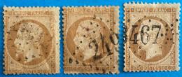 France 1863 : Lot Empire Dentelé N° 21 Oblitéré Différentes Teintes - 1863-1870 Napoleon III With Laurels
