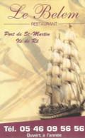 CV7 Cpa / Publicitaire / Advertising Business Card CARTE De VISITE LE BELEM RESTAURANT Port De St-martin Ile DeRé - Tarjetas De Visita