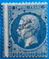 France 1863 : Empire Dentelé N° 22 Oblitéré Piquage Décalée - 1863-1870 Napoleon III With Laurels