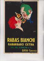 """CARTONCINO PUBBLICITARIO : RABAS  BIANCHI - RABARBARO  EXTRA.  BRA - TORINO .  ILLUSTRATO DA  """"  MAUZAN """" - Mauzan, L.A."""