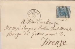 LETTERA 1877 C.20 TIMBRO VITERBO FIRENZE (KX194 - Marcofilía