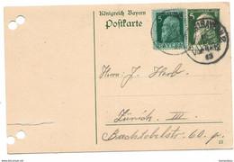 126 - 78 - Entier Postal Bayern Avec Affranchissement Complémentaire Envoyé à Zürich - Stamped Stationery