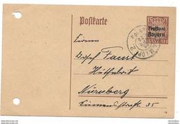 "126 - 97 - Entier Postal Envoyé ""Freistaat Bayern"" 1920 - Ttention Deux Trous à Gauche - Stamped Stationery"