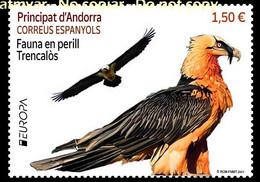 ANDORRA ANDORRE (2021) - EUROPA Fauna En Perill Trencalos, Quebrantahuesos, Gypaetus Barbatus, Bearded Vulture, Gypaète - Unused Stamps