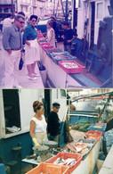 2 Photos Originales Du Marché Aux Poissons De Saint-Tropez En Juin 1986 - Places