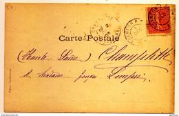 """Rare Cachet Ambulant """"Bsançon A Dijon Dec 1903"""" Lettre """"e"""" Absente Semeuse Indice Pothion=11 Cp Fantaisie - Railway Post"""