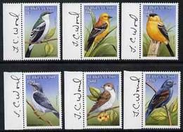 Burkina Faso 1999 Birds Perf Set Of 6 Each Signed In The Margin By Thomas C Wood The Designer, U/m - Burkina Faso (1984-...)