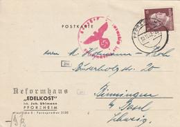 Allemagne Carte Censurée Pforzheim Pour La Suisse 1942 - Covers & Documents