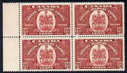 Canada 1938-39 Special Delivery 20c Scarlet (Arms Of Canada) Marginal Block Of 4 Superb U/m, SG S10 Cat £160 - Nuevos