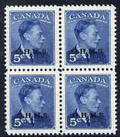 Canada 1949-50 KG6 Official 5c Blue Opt'd OHMS Block Of 4 U/m SG O176 - Nuevos