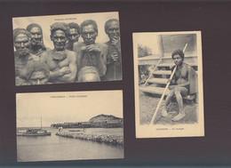 Océanie / Lot De 3 CPA / Nouvelle Guinée, Vieillards D'ouroun, Hanuabada Port, Ononghe Aveugle - Papua New Guinea