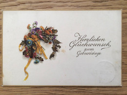 Deutsches Reich 1918, Cöln 23.2.18, Birthday Geburtstag (= Embossed), Flowers, Wreath, Blumen, Bloemen, Fleurs - Verjaardag