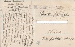 "AK POSTCARD WW1  AUSTRIA K.U.K. KRIEGSMARINE - S.M. SCHIFF  ""CUSTOZA""  VIAGGIATA 1914 - POLA MOLO BELLONA - F120 - Guerra"
