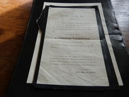 Lettre De Mort  Révérend Père Alphonse Lahousse Izegem 1843 Bxl 1902 - Overlijden