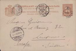 INDES NEERLANDAISES - BUITENZORG - 11-3-1891 - PAQUEBOT - LIGNE N - PAQ.FR.N°1 - ENTIER POSTAL POUR LA SUISSE. - Nederlands-Indië