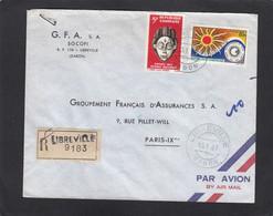 """LETTRE RECOMMANDÉE DE LIBREVILLE ,AVEC TIMBRES """"MASQUE/ANNEE INTERNATIONALE DU SOLEIL CALME"""". - Gabon (1960-...)"""
