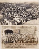 Lot De 2 CP Photos : La Musique Militaire Du 168ème Régiment D'Infanterie -  La Clique En Marches - 1928 - Guerra, Militares